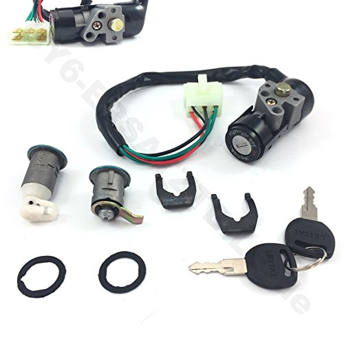 SCOOTER IGNITION KEY SWITCH ASSEMBLY LOCK SET SET SOMMIGE RETRO STYLE CHINESE SCOOTER GY6-PARTS 4STROKE BENZHOU YIYING YY50QT-14a ZNEN BELLA BMS JMSTAR