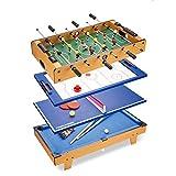 LANGWEI Mesas De Juego Combinadas 4 En 1, Juego De Arcade De Combinación Múltiple para Niños para El Hogar, Sala De Juegos, Sala De Recreación con Billar, Hockey De Aire, Futbolín Y Tenis De Mesa