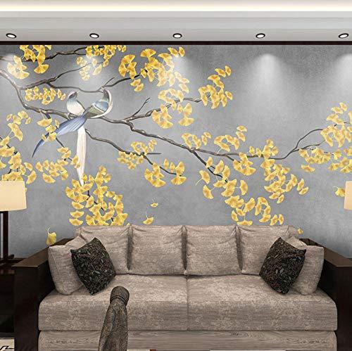 Murales Tropicales Hojas De Ginkgo Amarillo Pared Papel 3D Papel Pintado Dormitorio Sala Tv Fondo Decoración De Pared Decorativos Murales 120Cmx100Cm
