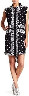 Kendall & Kylie Sleeveless Bandana Silk Dress, Black - Medium