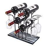 Rustic Countertop Wine Rack Holder-Wood Glass Storage Cabinet Stand-Holds 4 Glasses & Bottles on Bar Table-Modern Small Organizer for Shelf-Gift for Kitchen,Cellar,Pantry & Metal(Bronze)-Space Savor
