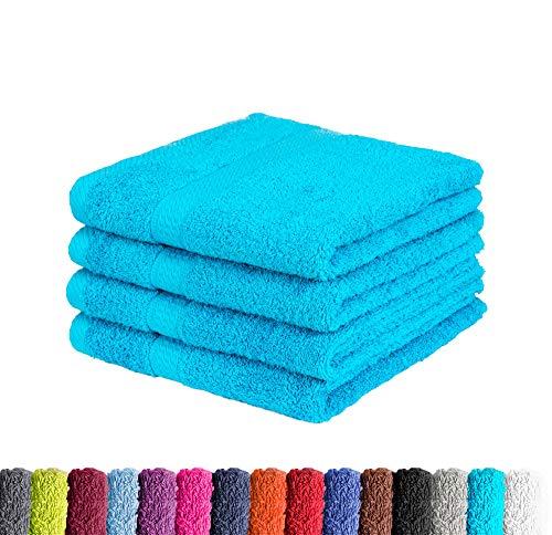 4er Pack zum Sparpreis Frottier Handtuch in vielen Farben 100% Baumwolle 500 g/m², 4X Handtücher 50x100 cm Türkis