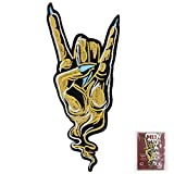 MUNAN Punk Rock Hand Symbol Sign Language Heavy Metal Music Patch Embroidered Applique Badge Iron On Sew On Emblem