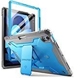 Poetic Revolution Series Case for iPad Air 4 2020 10.9 inch, Full-Body Rugged Dual-Layer Shockproof Protective Cover with Kickstand and Built-in-Screen Protector for iPad Air 4th Generation, Blue