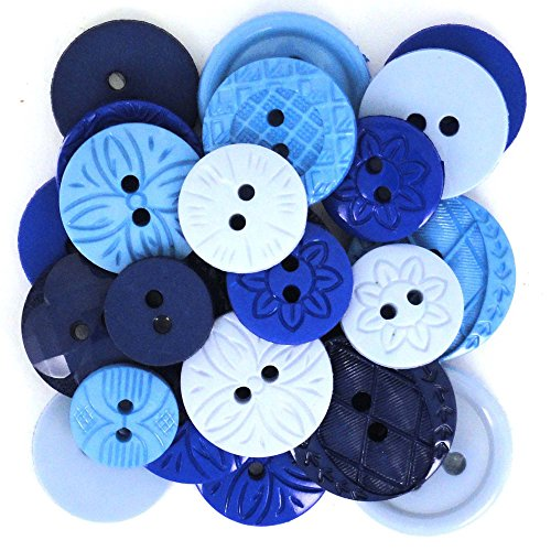 Robe It Up Bouton, en Plastique Bleu, Assorties, 10–21 mm, 18 pièces
