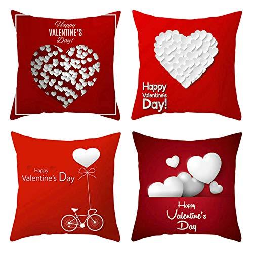 Aeici Set di 4 Federa Cuscini Divano, Federe per Cuscini 40x40cm Fodere Decorative Cuscini Letto Happy Valentine's Day con Cuore Set 5