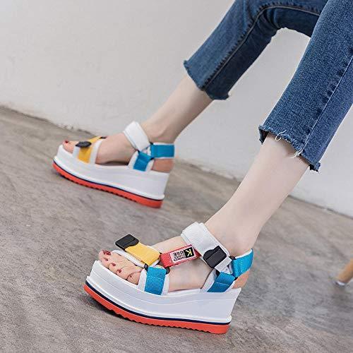 Nwarmsouth Pantoufles Antidérapantes de Bain Sandal,Sandales à Plateforme Trifle, Chaussures de Sport compensées pour Femmes-Blanc_37,Antidérapant Bain Pantoufles
