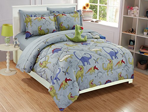 Fancy Linen Collection 6 pc Twin size DINOSAUR Grey blue Yellow Kids/Teens Comforter set With Furry Buddy Included