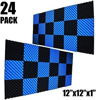 24 PACK BLACK/BLUE Acoustic Foam Egg Studio Sound insulation Treatment Absorption