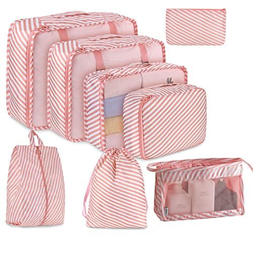 TTWLJJ Organizzatori da Viaggio Organizer Valigie Set di 8 Cubi di Imballaggio Sacchetto di Stoccaggio Perfetto di Viaggio dei Bagagli Organizzatore per Le Vacanze, Viaggiare,Rosa