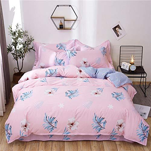 BSTLY Ropa de Cama de algodón de Rayas Simples (con Cremallera, Funda de Almohada) Contiene 4 Piezas Chanel Flower Language-Pink Funda nórdica 160x210cm Hojas 200x230cm