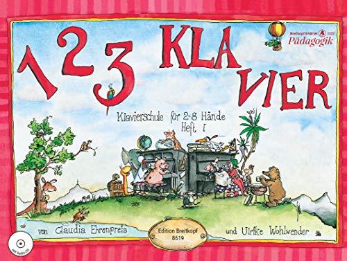 1 2 3 Klavier Klavierschule für 2 - 8 Hände. Heft 1 mit CD zu Heft 1 und 2 (EB 8619)