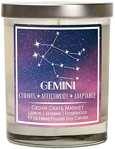 Gemini Astrology Candle - Best Friends, Friendship Gifts forWomen, Men, Zodiac Birthday Giftfor Gemini Friends Female, Gemini Lovers, Horoscope Candle, Gemini Constellation