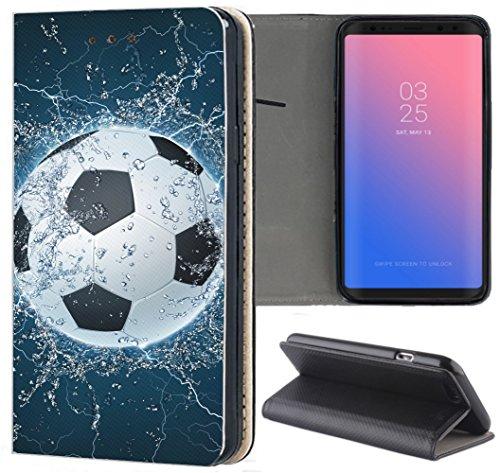 KUMO Hülle für Huawei P8 Lite 2017 Handyhülle Design 1391 Fussball Fußball Schwarz Weiß Blau aus Kunstleder Schutzhülle Smart Cover Klapphülle Handy Case Hülle für Huawei P8 Lite 2017