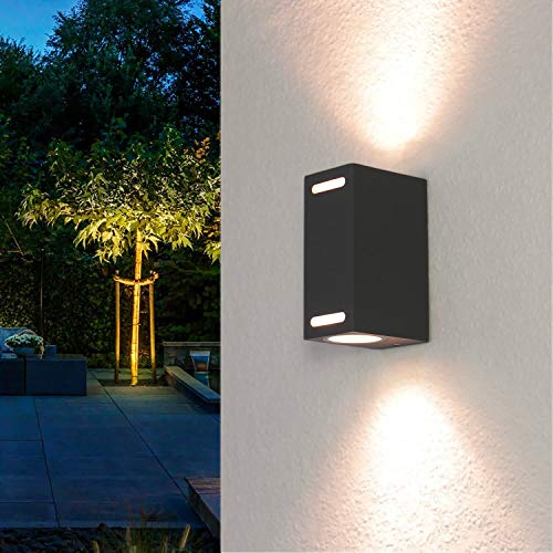 Kompakte Außenleuchte eckig Grau GU10 Up Down Strahler Wandlampe Außenlampe Beleuchtung Wandstrahler