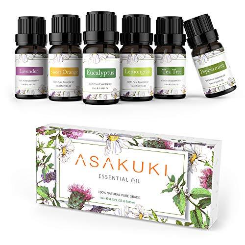 ASAKUKI Smart Wi-Fi Essential Oil Diffuser with Top 6 100% Pure Therapeutic Grade Aromatherapy Oils Includes Lavender, Eucalyptus, Lemongrass, Tea Tree, Sweet Orange and Peppermint