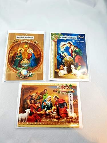 3 Stück Polnische Weihnachtskarte Grußkarte zu Weihnachten mit Oblaten/ 3 kartki świąteczne z Oplatkiem