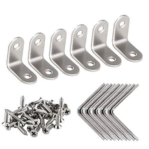 Pulluo Equerre Metal Équerres de Fixation Supports Angulaires Droits 30 x 30 x 16 mm Équerre D'assemblage 90 Degrés en Acier Inoxydable avec 32 Pcs Vis(16pcs)