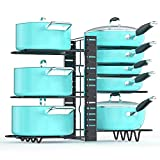 Pan Organizer Rack for Cabinet, Pot and Pan Organizer for Cabinet with 3 DIY Methods, Adjustable Pan Pot Rack with 8 Tiers, Upgraded Heavy Duty and Deep U-shaped Design with Obstructed Slip Layer