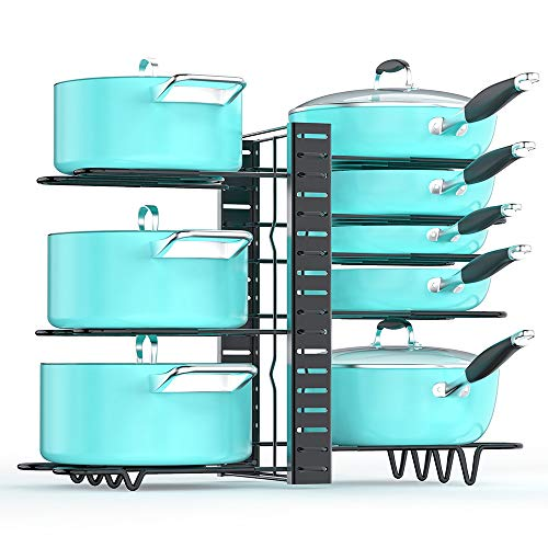 Pan Organizer Rack for Cabinet Pot and Pan Organizer for Cabinet with 3 DIY Methods Adjustable Pan Pot Rack with 8 Tiers Heavy Duty Pot Organizer Deep U-shaped Design with Obstructed Slip Layer