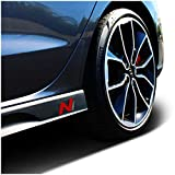 Juego de 2 láminas protectoras para el logotipo del faldón lateral, autoadhesivas, ajuste perfecto para el coche K055 (negro/rojo/carbono)