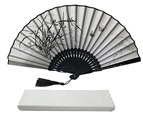 Tinte Art Handheld Fan mit Einem Box und Eine Tasche für Damen Herren Mädchen Schwarz und Weiß mit Silber Touch bis Durable Falten Hand Fan Seide Stoff Bamboo Flowers Ia02