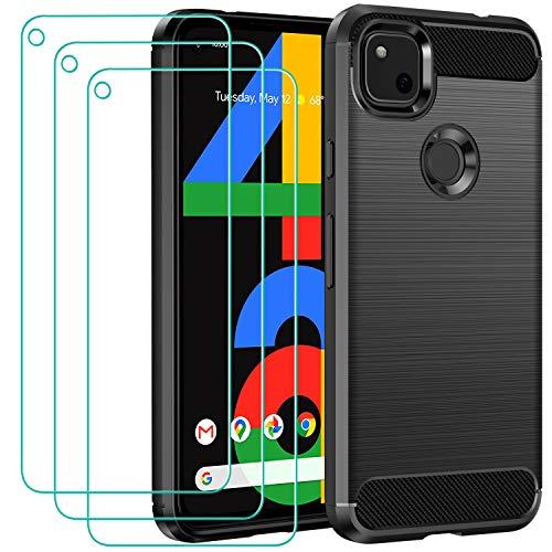ivoler Funda para Google Pixel 4A 4G con 3 Unidades Cristal Templado, Fibra de Carbono Carcasa Protectora Antigolpes, Suave TPU Silicona Caso Anti-Choques Case Cover - Negro