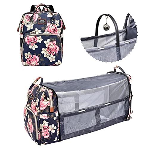Pañal portátil, Desconocido 3 en 1 Bolsa de pañales Mochila para recién Nacidos Cuna portátil con Cambiador de Viaje para mamá para Cuna de bebé recién Nacido