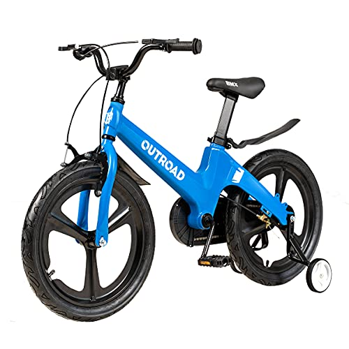 MarKnig Kids Bike for 3-10 Years Old Children Bike with Training Wheels 14 16 18 Inch Freestyle Bicycle, 18 Inch Magnesium Alloy Bikes with Adjustable Seat and Handbrake, Champagne, Blue