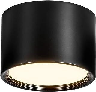 Temgin LED Spot plafond Noir 12W Blanc Chaud 3000K Plafonnier salon salle à manger cuisine couloir chambre Ø120MM