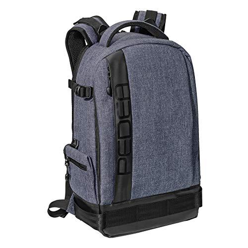 PEDEA DSLR-Kameratasche Fashion Fototasche für Spiegelreflexkameras mit wasserdichtem Regenschutz, Tragegurt und Zubehörfächern (Rucksack, grau)