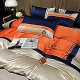 Juegos De SáBanas De 160x200,Ropa de cama de seda de primavera y verano, cubierta edredón cómoda, suave y transpirable, cama doble individual, anti-desvanecimiento y hojas antiarrugas-D_Cama de 2.0m