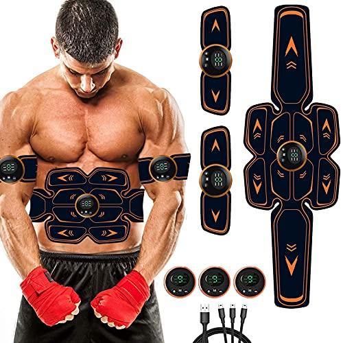 Queath EMS Trainingsgerät, Bauchmuskeltrainer, USB-Wiederaufladbarer Tragbarer Muskelstimulator, 6 Modi & 9 Intensitäten, Bauchtrainer Elektrisch für Bauch, Arm, Bein-Fitness Trainings Gang