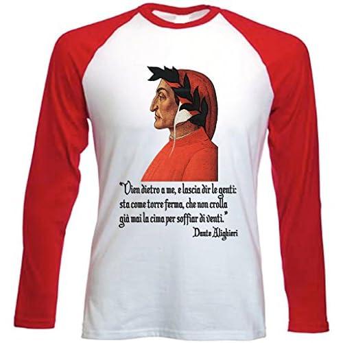 teesquare1st Dante Alighieri Versetto Tshirt con Maniche Rosse Lunghe Size Medium