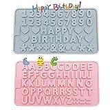 2 Stück Silikonform Buchstaben Set, XCOZU Silikonformen Alles Gute zum Geburtstag Symbol Backform, Schokoladenform Silikon Zahlen Form zum Kuchen Keks Süßigkeiten Mini Fondant Dekoration(Pink, Blau)