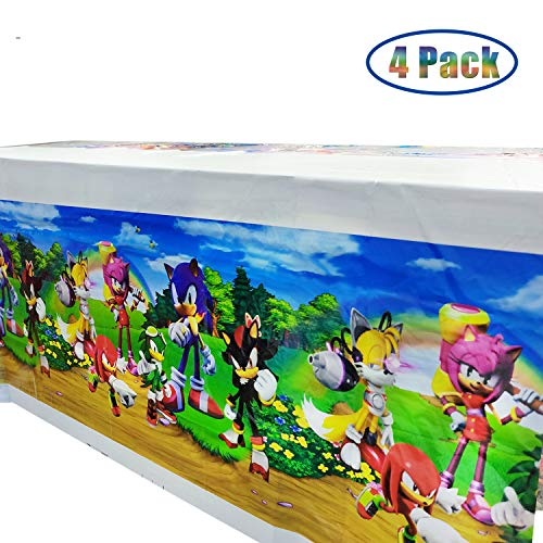 4 Pack Sonic The Hedgehog Table Cloth, 70 x 42 Inch Table Covers for Baby Shower Birthday Party Decoration Supplies