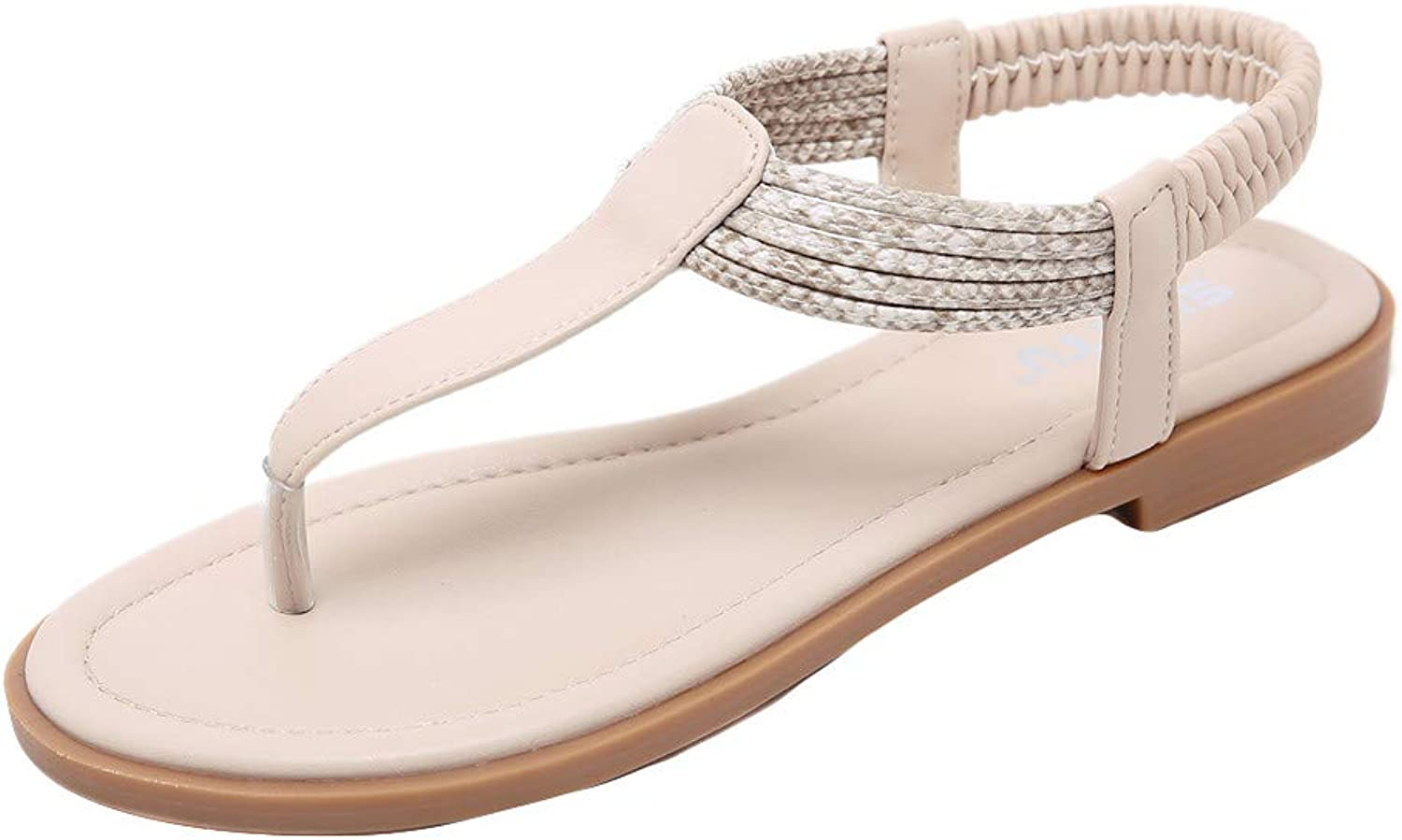 Xinantime Women's Summer Clip Toe Sandals T-Strap Thong Sandals with Low Wedge Slingback Flat Sandals