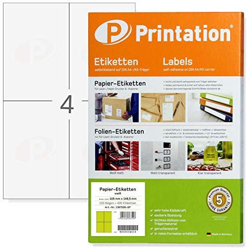 Universal Etiketten 105 x 148,5 mm DIN A6 bedruckbar selbstklebend weiß - 100 A4 Blätter 2x2 105x148,5 - Versandaufkleber Versand-Etiketten 3483 6120 4476 Klebeetiketten 105x148