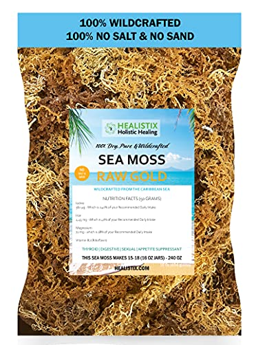 Hx Healistix Irish Sea Moss gold 100% dry no salt or sand, 16 oz, 100% wildcrafted wild sea harvested no chemicals or preservatives, harvested from the carribean Sea.