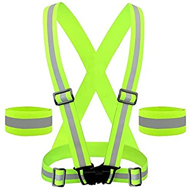 Reflective Vest for High Visibility All Day and Night for Running, Biking and more, Unisex (1 Vest, 2 Arm Bands)