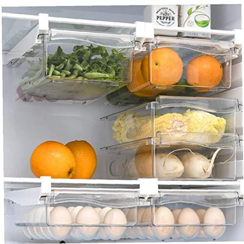 tJexePYK 3pcs Frigorífico Organizador Bins acrílico Transparente Refrigerador cajón Cajas con la Caja de Huevo de Almacenamiento frigorífico ordenado del Organizador de Suministros Accesorios