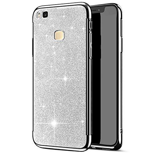 Funda Huawei P9 Lite, JAWSEU Funda Carcasa Huawei P9 Lite Bling Glitter Silicona Suave Gel TPU, Carcasa Ultra Fina Bumper Delgado Enchapado TPU Funda Anti-Arañazos Case para Huawei P9 Lite,Plata
