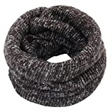 Women Men Outdoor Thermal Infinity Circle Loop Scarf Neck Fleece Knitted Scarves Warmer Slouchy Scarf (Coffee)