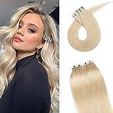 Tape Extensions Echthaar Klebe Haarverlängerung Glatt Weich Haarteil Günstig Human Hair 20 Stücke 30 Gramm 40cm 60# Platinblond