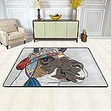Alfombra de área para sala de estar, diseño étnico de alpaca Perú Llama étnica antideslizante alfombra para el piso decoración del hogar dormitorio