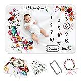 ARUGUMBABY Manta mensual para bebé – Manta Milestone para bebé niña o niño – Manta premium de franela para bebé Milestone – Manta para bebé recién nacido con babero y accesorios – 152,4 cm x 101,6 cm