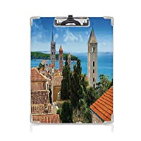 クリップボード クリップファイル 都市の景観 学校・ご家庭・オフィスなど場所 (2パック)歴史的な塔の遺産とクロアチアの旧市街の空撮アートプリントの装飾マルチ