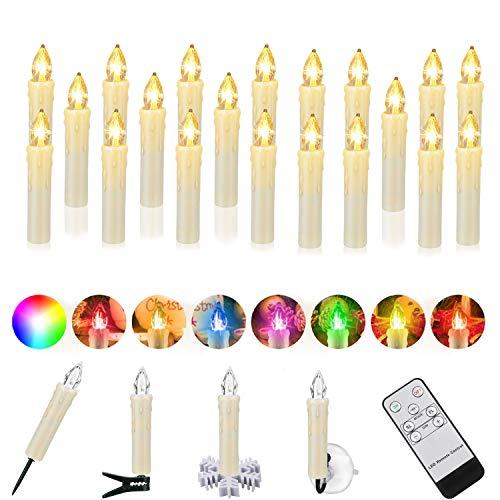 40er LED Kerzen Weihnachtskerzen IP64 wasserdicht RGB&Warmweiß, Dimmbar mit Fernbedienung und Timerfunktion, als Dekoration für Weihnachten, Weihnachtsbaum, Weinachten LED Kerzen Lichterkette.