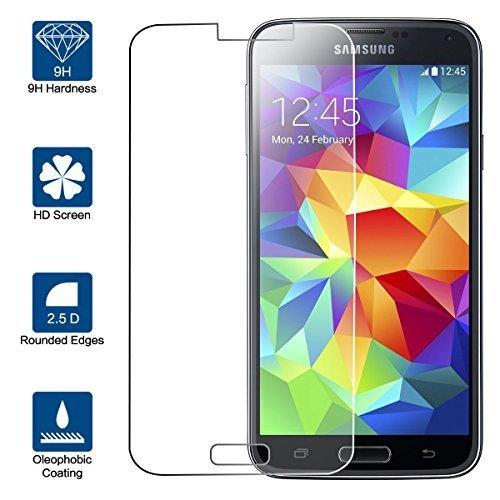 Beiuns Vetro temperato Protettiva Protezione protettore Proteggi Schermo per Samsung Galaxy S5 (5.1 Pollici)