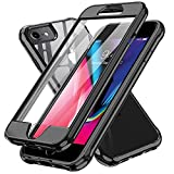LeYi Funda para iPhone 6/ iPhone 6S / iPhone 7 / iPhone 8 / iPhone SE 2020 con Protector de Pantalla Integrado, 360 Carcasa Armor Silicona TPU Gel Bumper Hard PC Ultra-Fina Antigolpes Case,Negro